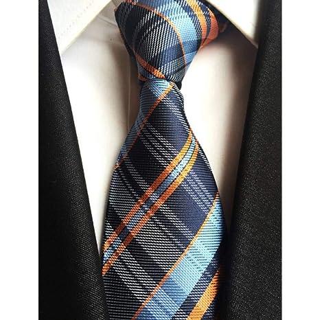 XZ Corbata de moda Nuevo clásico 8Cm Cheques Azul Amarillo ...