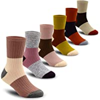 6 Pack Boys Wool Socks Winter Warm Color Matching Thick Knit Wool Cozy Crew Socks