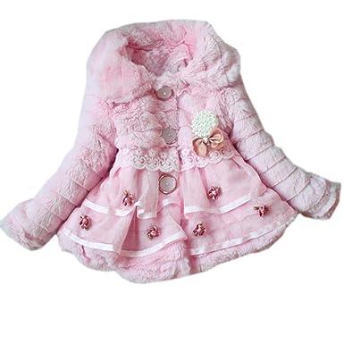 4b6a2725a73d Amazon.com  eshion Kids Faux Fur Fleece Lapel Coat Winter Warm ...
