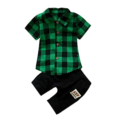 7a013a35078 Anxinke Toddler 2PC Set Clothing Set Turn Down Collar Plaid Short Sleeve  Shirt Tops and