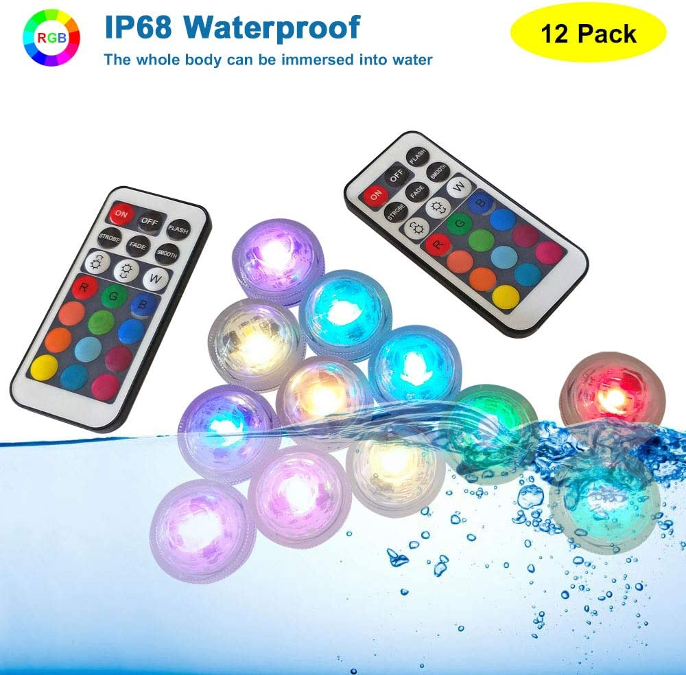 HL Submersible LED Lights Mini Waterproof RGB Tealight Multi Color With Remote Control Lasting 24 Hours For Aquarium Vase Base Hot Tub Wedding Party Pond 12 Pack Pool Garden
