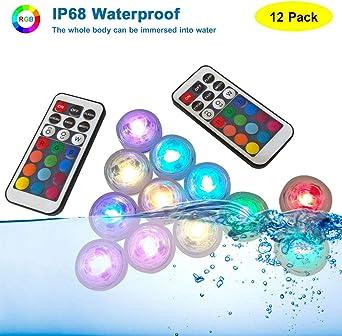 12PCS LED Submersible Waterproof Wedding Party Vase Base Light w// Remote Control