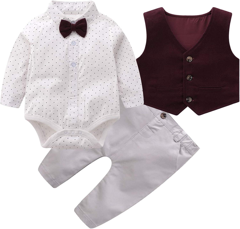 Vest Clothes Set Baby Boys Gentleman Outfits Suits Infant Long Sleeve Shirt+Bib Pants+Bow Tie