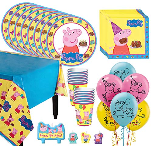 Party City Peppa Pig Tableware Kit for 16 Guests, 59 Pieces, Includes Plates, Napkins, Cups, Candles, and -