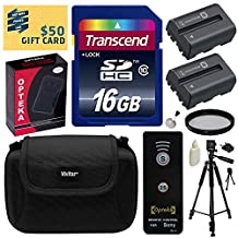 """Beginner's Accessories Bundle Kit for Sony Alpha A57, A58, A65, A77, A99, A100, A200, A300, A350, A450, A500, A550, A560, A580, A700, A850, A900 includes 16GB Class 10 SDHC Memory Card + Pack of 2 Replacement (1800mAh) NP-FM500H Battery + AC/DC Rapid Home Wall and Travel Charger with Car and European Adapter + Professional 60"""" Inch Photo/Video Tripod + Hard Shell Carrying Case + Wireless Shutter Release Remote Control + 55MM UV High Definition Ultra Violet Filter + Camera Lens Cleaning Kit +"""