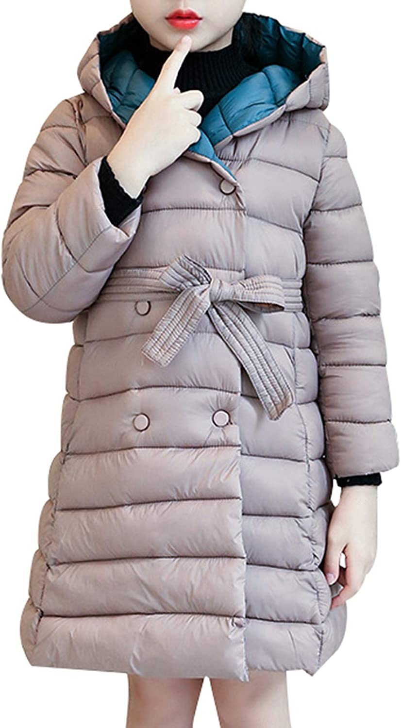 Beloved Little Girls Fashion Double Breasted Flower Floral Casual Hooded Puffer Down Jacket