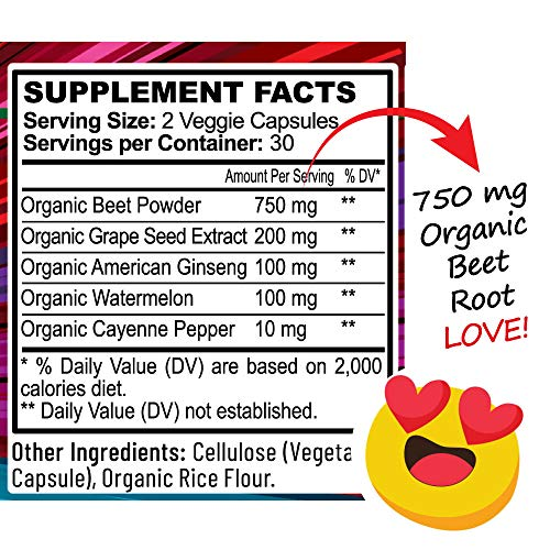 Beet Root Powder Capsules w Grape Seed Extract, Ginseng – Happy Heart Blend – USA Grown Beetroot
