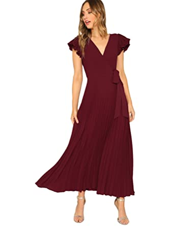 d08ca384f575 Milumia Women's Elegant Belted Frill Shoulder and Hem Self Knot Butterfly  Sleeve Maxi Dress Burgundy-