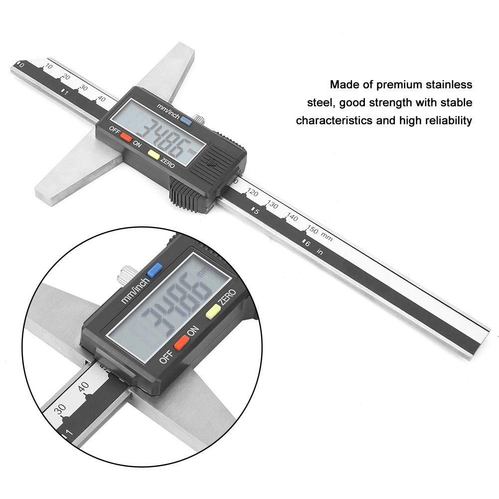 Zerone Herramienta de medici/ón de calibrador Vernier de profundidad digital de acero inoxidable de alta precisi/ón 0-150 mm 0.01 mm