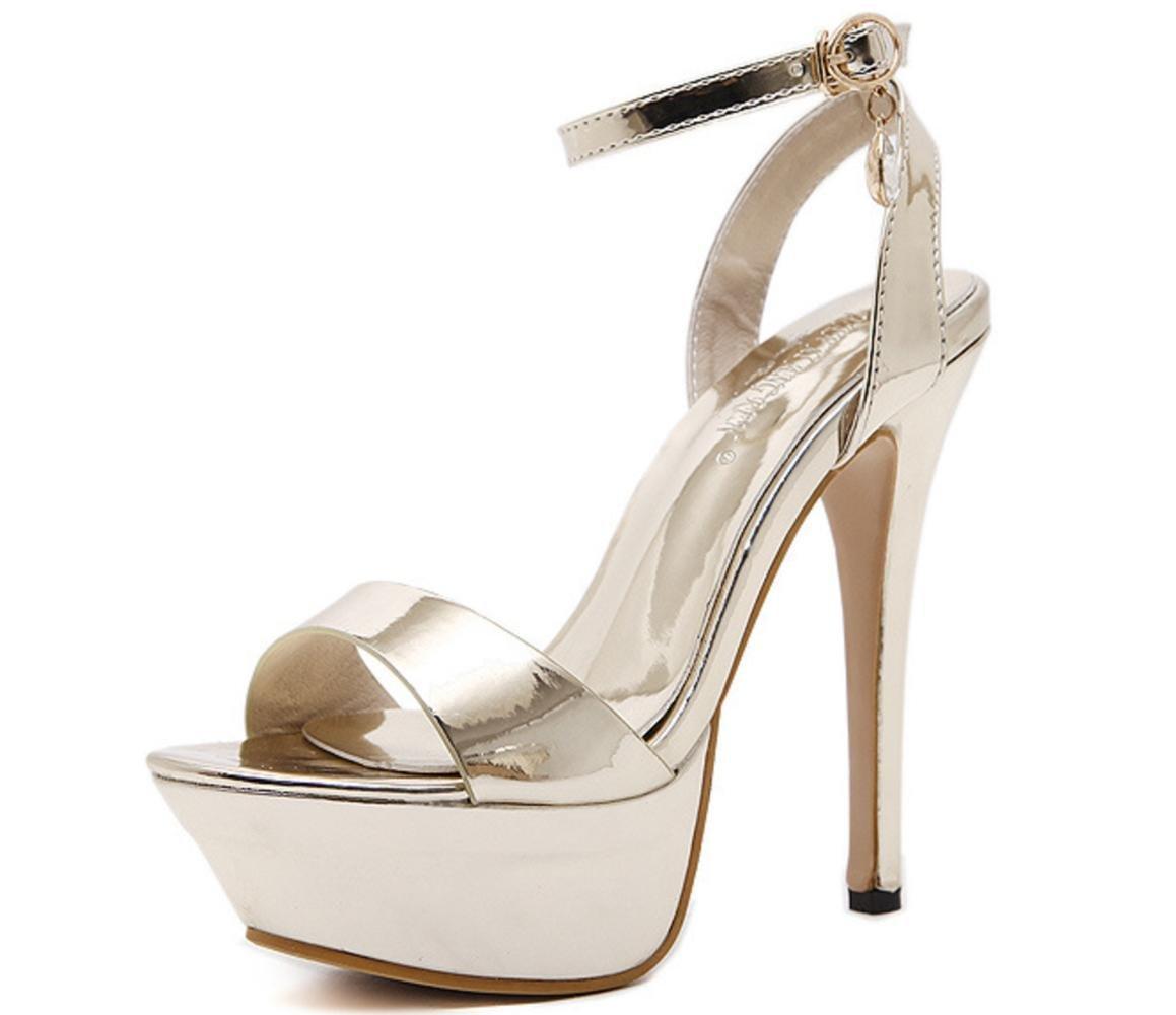 CSDM Women Stiletto Heel Fashionable Waterproof Table Buckle Sandals Nightclub Shoes Wedding Shoes , gold , 37