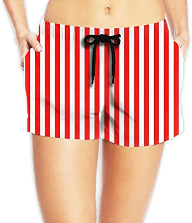 Loro sono nebbia Quantità di  ZeTian H Red White Vertical Stripe Lightweight Womens Shorts Soft Sports  Short Pants at Amazon Women's Clothing store