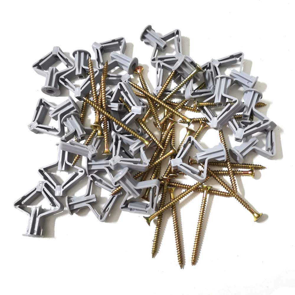 Aircraft Expansion Anchor Bolts Expansion Tube and Countersunk Screws Frame Fixings Expansion Wall Connector for Wall Curtain Gypsum Board Home Decoration(100pcs with Screw)
