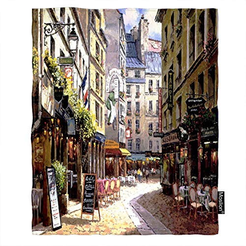 - Moslion Paris Blanket Vintage Painting France Street Cafe European Building French Shops Throw Blanket Flannel Home Decorative Soft Cozy Blankets 40x50 Inch for Baby Kids Pet