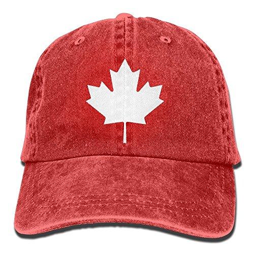QS3F2S2D1G Men Women's Canada Maple Leaf Vintage Cotton Denim Baseball Cap Hat Red