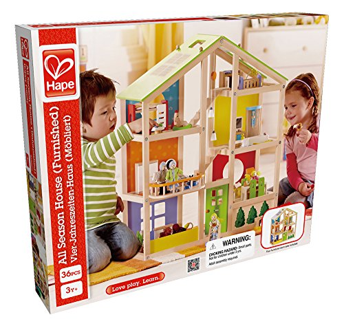 Hape All Seasons Kid's Wooden Doll House Furnished with Accessories by Hape (Image #4)