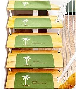 Alfombra de Escalera Luminoso Rectángulo Árbol de Coco Autoadhesivo Mudo Antideslizante Cómodo Color Sólido Simple Moderno Suave Planta Alfombrilla Estera (55 X 22 X 4.5 cm),Green,15pieces: Amazon.es: Hogar