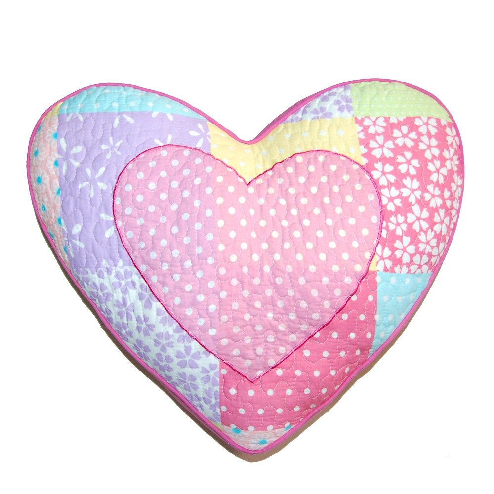 Cozy Line Home Fashions Heart Shape Throw Pillow, Pink Lilac Yellow Embroidered Print Pattern Stuffed Toy Doll Decorative Pillow for Kids, Girls (Heart, Decor Pillow -1pc)