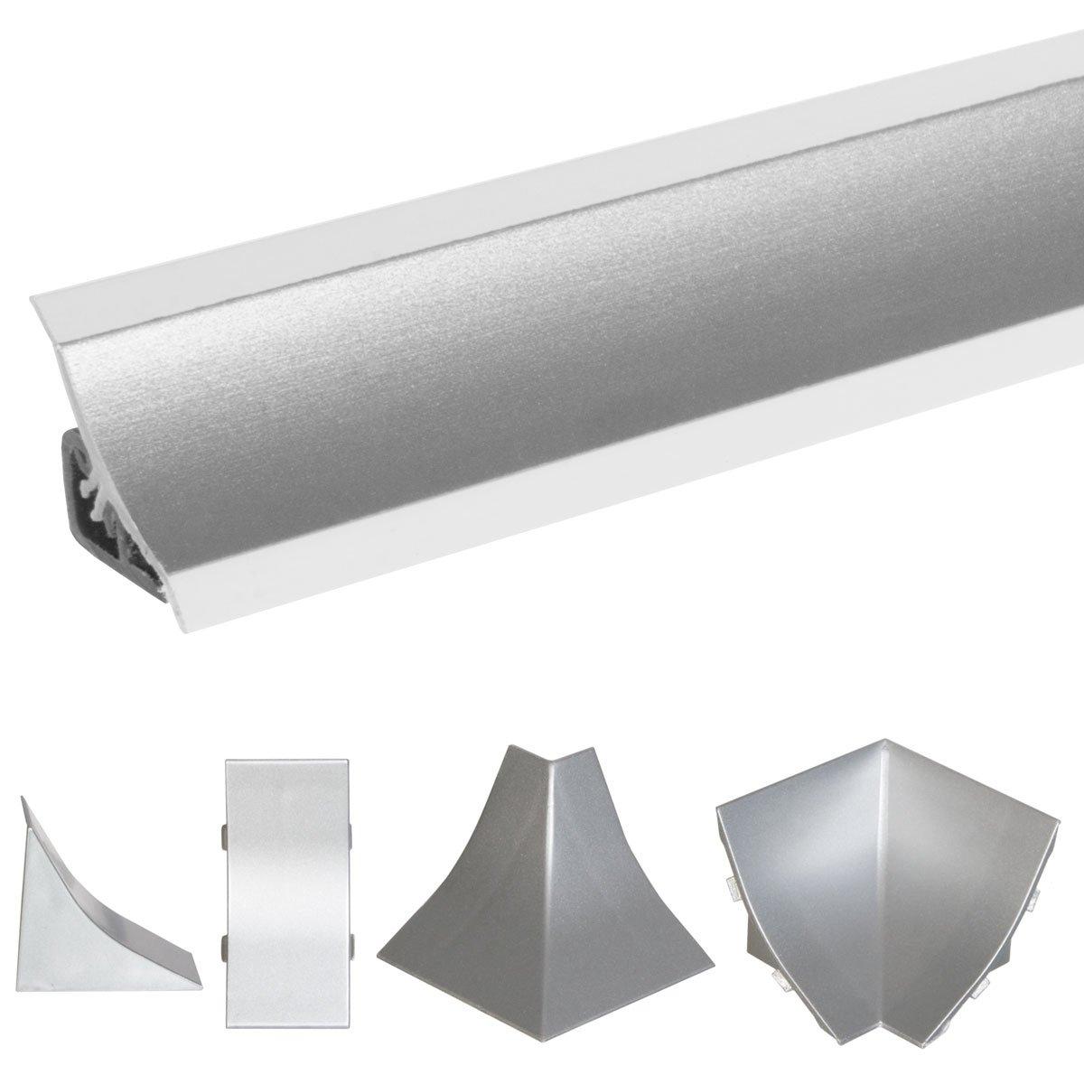 HOLZBRINK Copete de Encimera de Aluminio Satén Listón de Acabado Aluminio Copete de Encimeras de cocina 23x23 mm 150 cm: Amazon.es: Bricolaje y herramientas