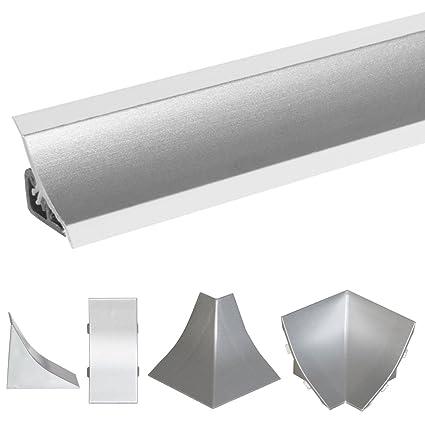 HOLZBRINK Acabado de PVC para Copete de Encimera Listón de Acabado Aluminio Satén Copete de Encimera