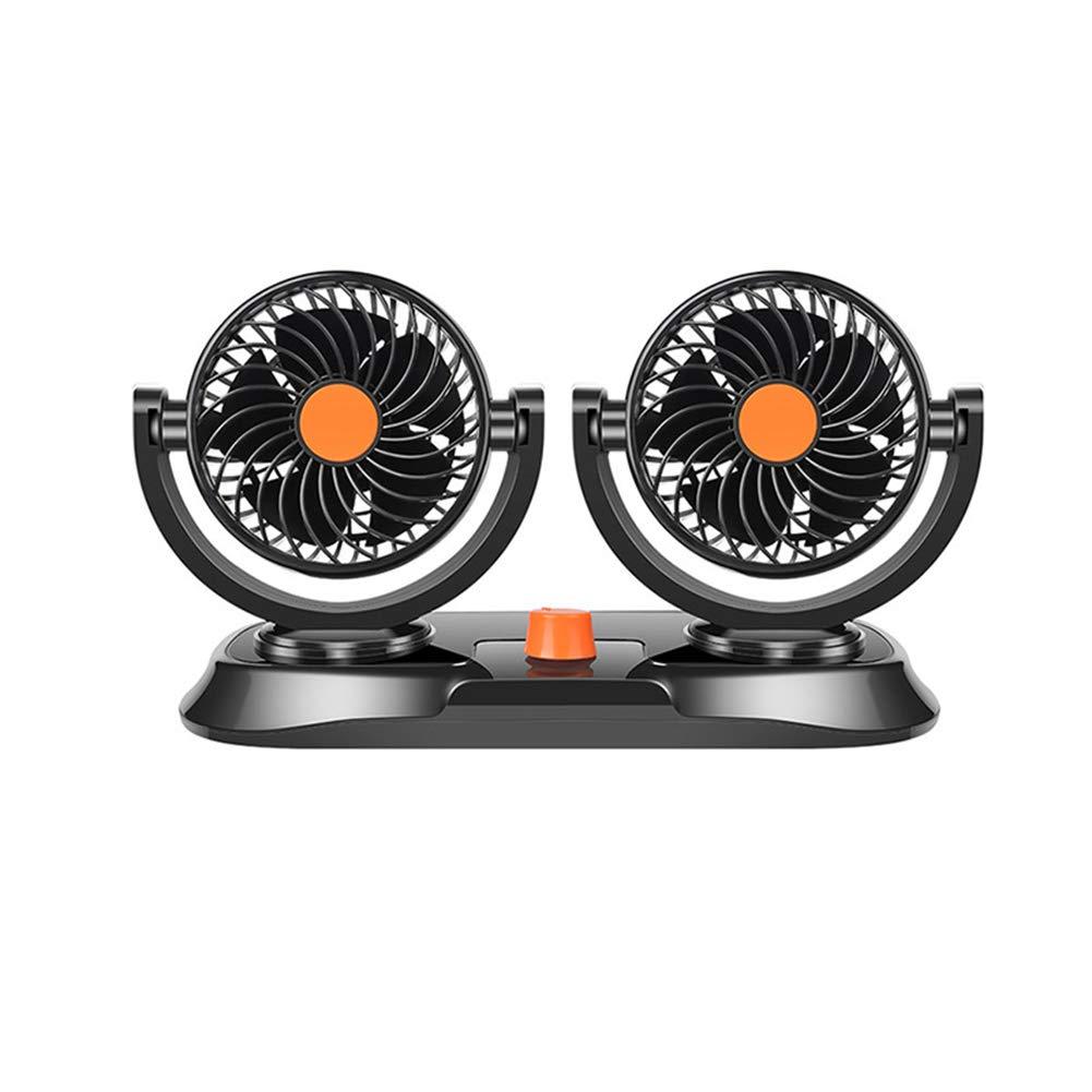 GJF Mini Double-Head Car Fan, 2 Speed   Wind Adjustable, Silent High Wind Double Use, Strong Adhesive Pad, 360° Manual Free Rotation, Input Voltage: DC12V Blue / DC24V Orange-DC24Vorange