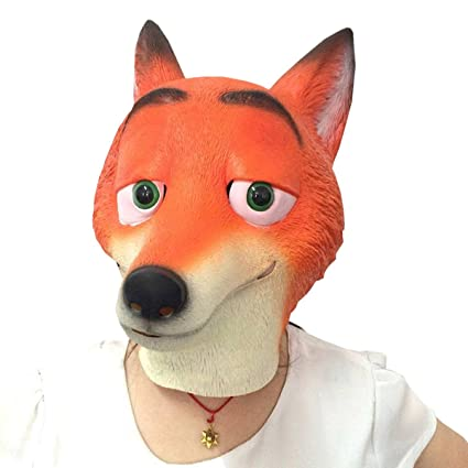 Nihiug Halloween Loco Animal Ciudad Zootopia Judy Máscara Cartoon Nick Fox Máscara Cementerio Funny Mask Recorte