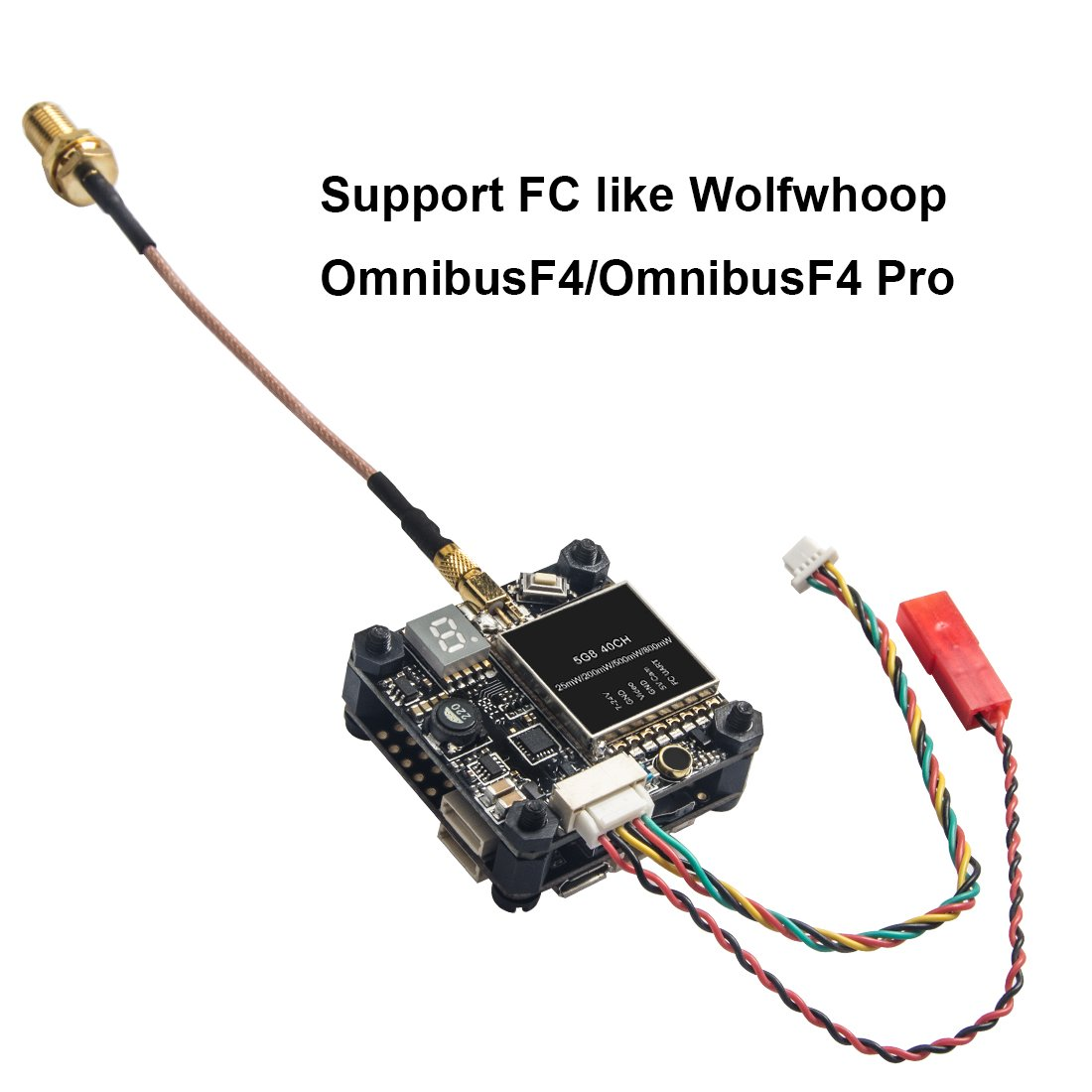 Wolfwhoop Q3-S 5.8GHz 0.01//25//200//500//800mW 37CH Switchable FPV Video Transmitter with MMCX to SMA Female and Integrated FC Uart Support VTX Settings in Betaflight OSD