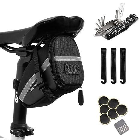 Hommie 16 En 1 Bolsa de Sillín para Bicicleta con Herramientas Multifuncional, Ideal Bolsas de Ciclismo con Tira Reflectante y Kits de Reparación para ...