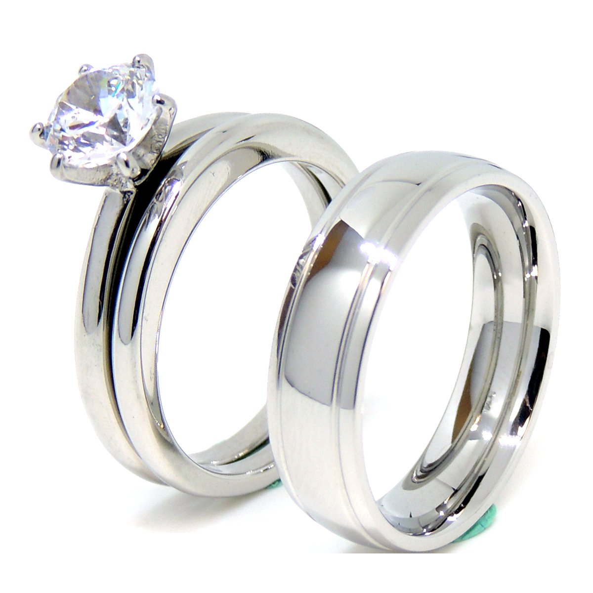 Lanyjewelry Matching Couple Ring Set Womens Wedding Ring Set Mens Dome Grooved Edge Band - Size W8M8