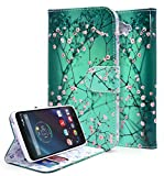 Droid Turbo Case, NageBee - Design Dual-Use Flip PU Leather Fold Wallet Pouch Case for Motorola Droid Turbo XT1254(Fits Ballistic Nylon Version) (Wallet Plum Blossom)