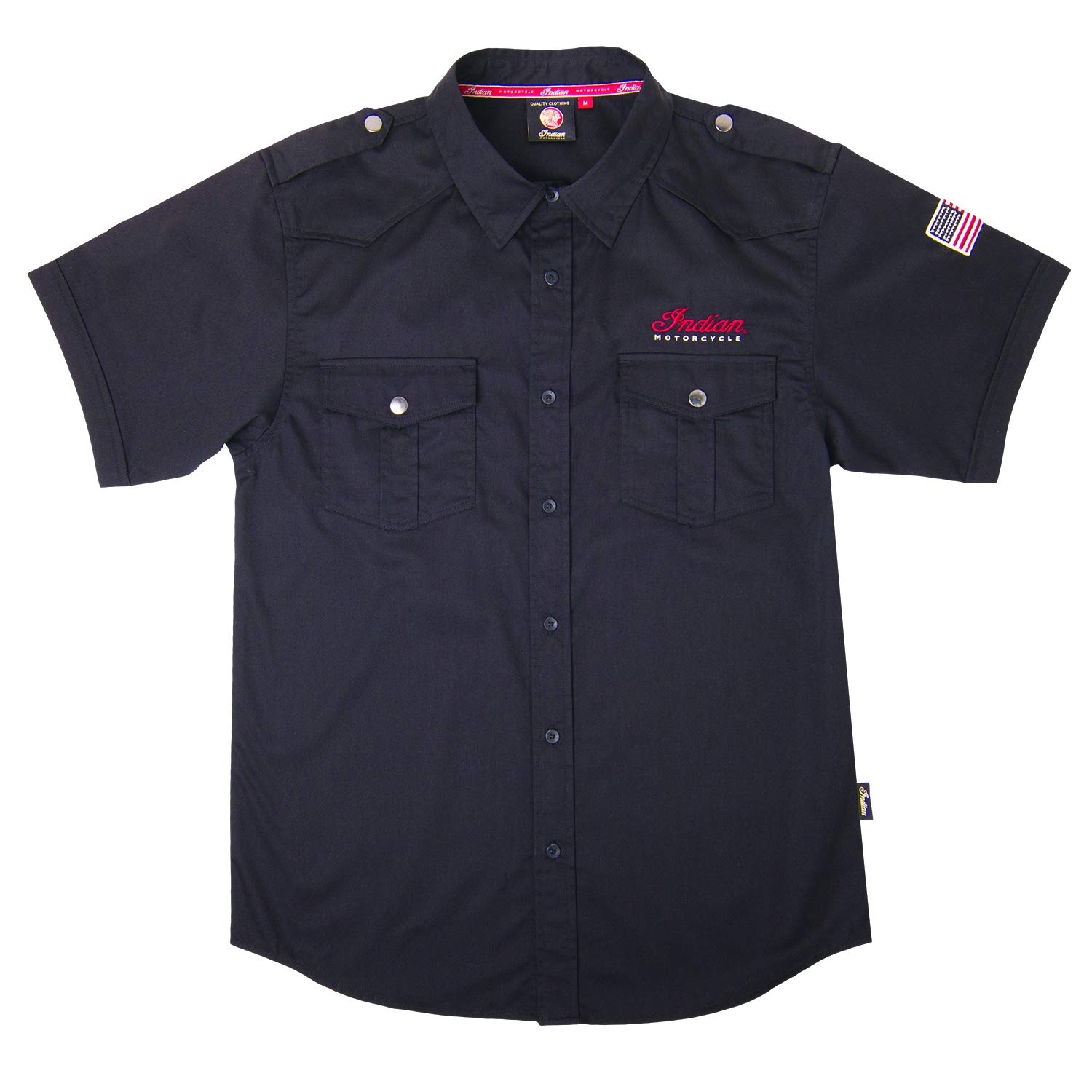 Amazon.com: Indian Motorcycle Mens Casual shirt- Negro Large ...