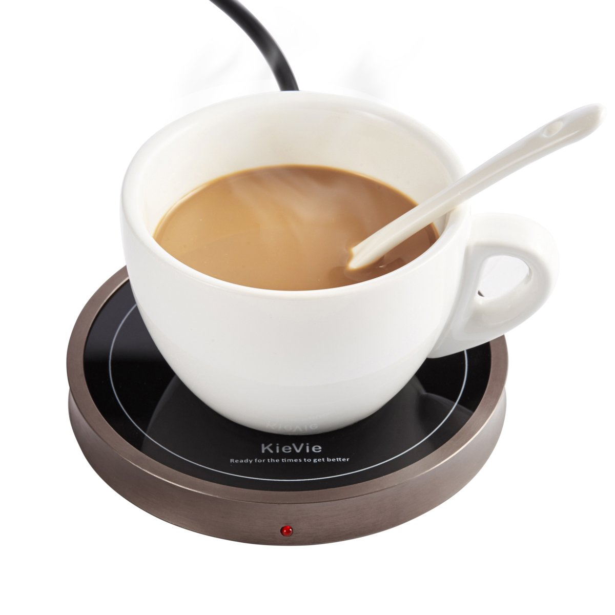 KieVie Electric Coffee Mug Warmer for Home/Office Use, Pyroceram Plate and Metal Shell, Waterproof Mug Warmer For Warming Beverages, such as Coffee, Milk, Tea, Cocoa, Small Food, Golden Brown