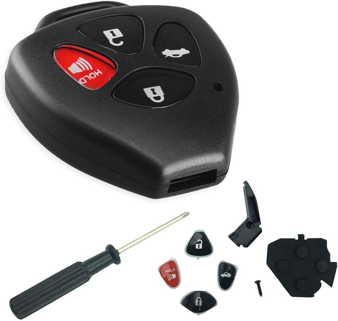 4 Buttons Key Shell Replacement for Toyota Camry Corolla Avalon Matrix Rav4 Venza Yari/Scion iQ tC xB xD (HYQ12BBY, GQ4-29T, MOZB41TG)
