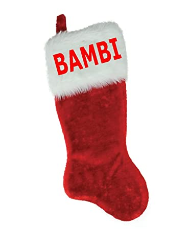 152873964 NAME (BAMBI) EMBROIDERED 18 quot  X 8.5 quot  Traditional Red and White  Plush Christmas