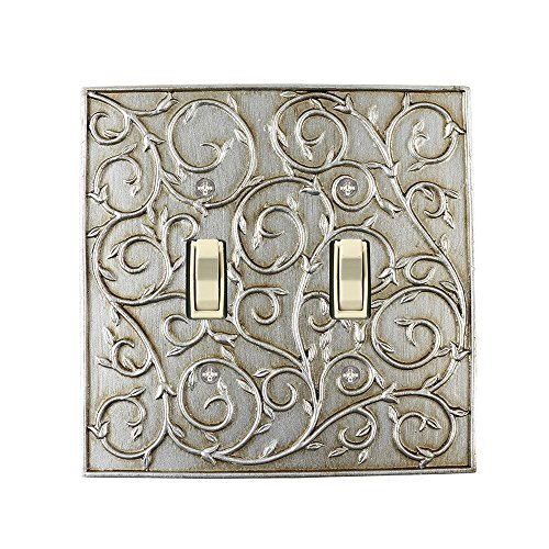 Meriville French Scroll 2 Toggle Wallplate, Double Switch Electrical Cover Plate, Aged Silver (Electric Plate)