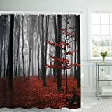 Modern Shower Curtains modern timesm Bathroom Shower Curtain Mystic Forest Bathroom Curtain with 12 Hooks, Trees Red Leaves Shower Curtains Durable Waterproof Fabric Bath Curtain