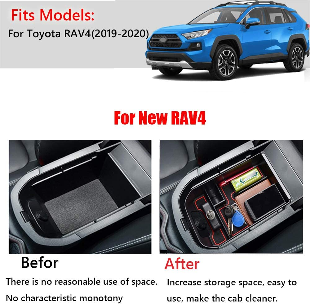 2019 2020 Great-luck High quality ABS Armrest Center Console Storage Box Tray Center Console Organizer Tray Accessoies with Coin Holder for Toyota New RAV4