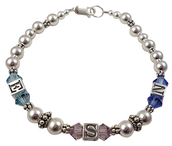 Amazon Com Family Birthstone Bracelet And Initials Personalized