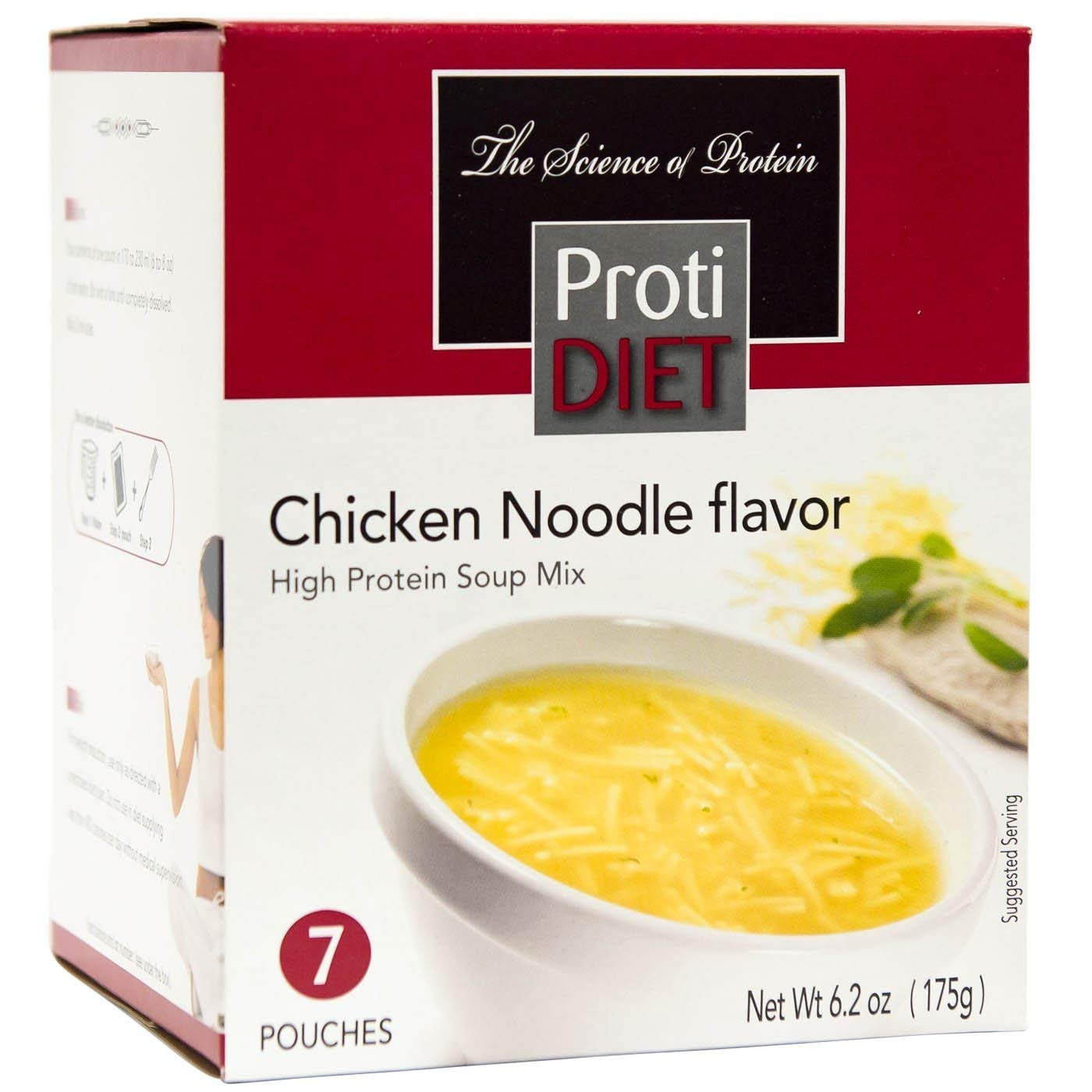 ProtiDiet Soup - Chicken Noodle (7/Box) - High Protein 15g - Low Calorie - Fat Free