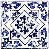 "linoleum floor tiles  FloorAdorn Vinyl Floor Appliques Self-Adhesive, Decorative and Removable Tiles 12""X12"" Light Blue Moroccan 6"