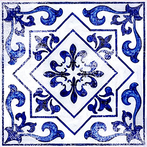 "- Con-Tact Brand Adorn FLRA-12N026-06 Adhesive Decorative and Removable Vinyl Floor, Light Blue Moroccan, Set of 6-12""x12"" Tiles"