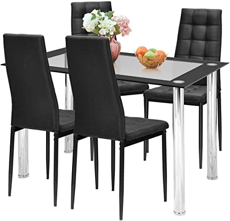Outdoor Garden Furniture Patio Dining Table 4//6//8 Chair Set Black Tempered Glass