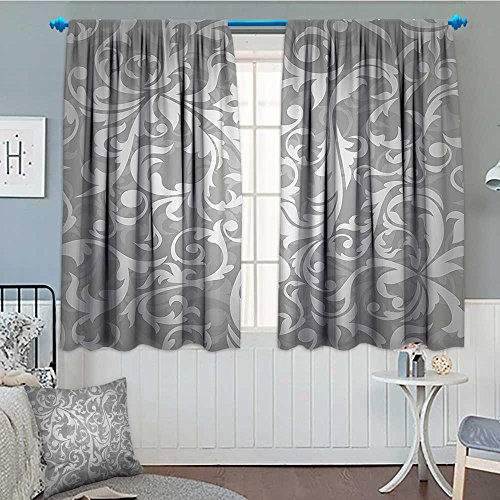 """SeptSonne-Home Silver Blackout Window Curtain Victorian Style Large Leaf Floral Pattern Swirl Classic Artsy Abstract French Vintage Print Customized Curtains 52""""x63"""" Gray"""