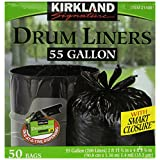 Kirkland Drum Liner Trash Bags with Smart Closure, One-at-a-time Dispensing, 55-Gallon, 50 Count
