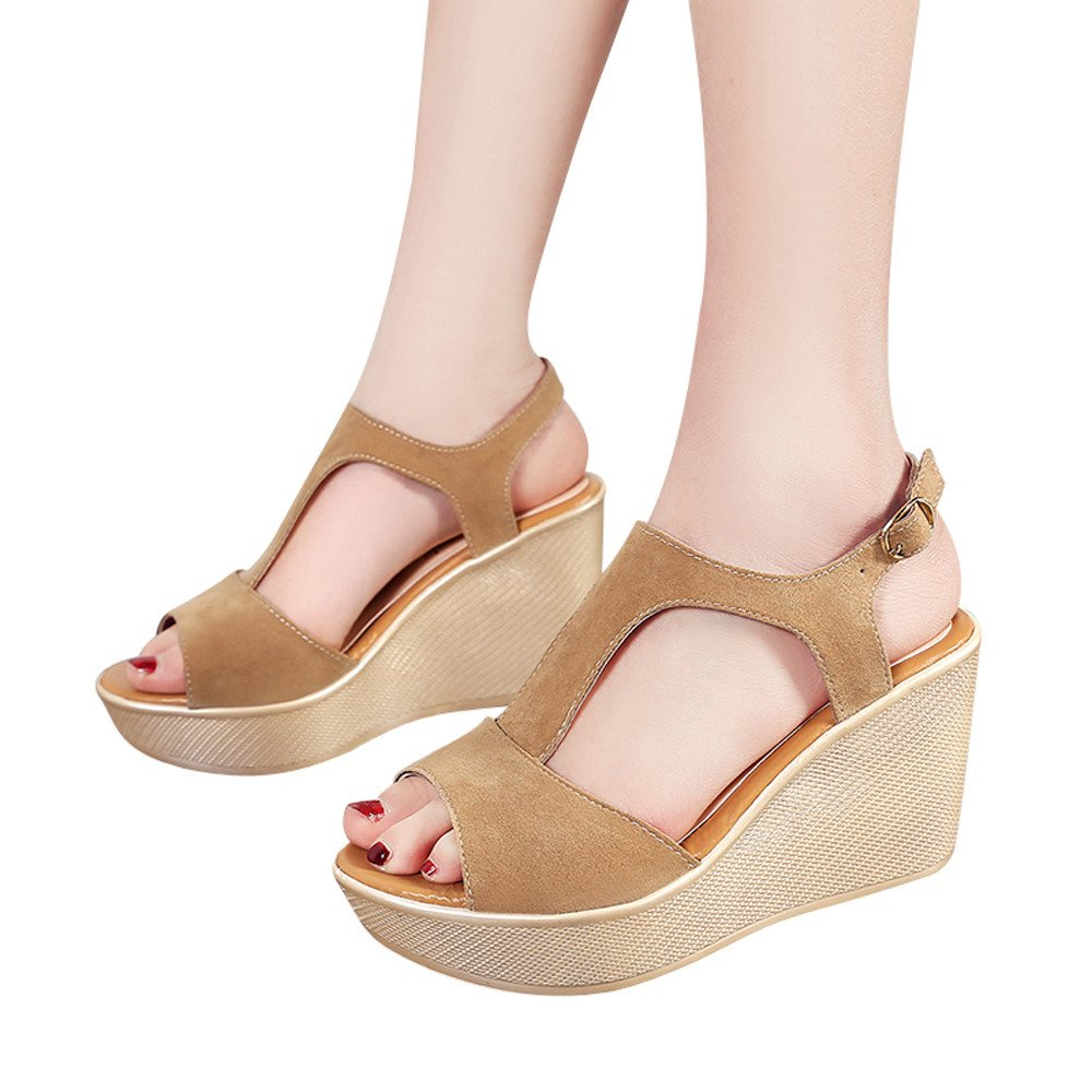 Sandals For Womens -Clearance Sale ,Farjing Women Fish Mouth Non-slip Platform Slope High Heels Sandals Buckle Strap Sandals(US:6.5,Khaiki )