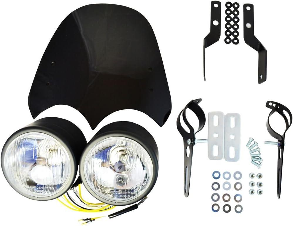 Id/éal pour Streetfighter Caf/é Coureur R/étro Trike Moto Double Double Phare Kit 55W avec Pare-Brise /& Support Fixation