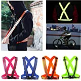 neon daylight running lights - Comidox Reflective Vest with Hi Vis Bands, Fully Adjustable & Multi-purpose: Running, Cycling, Motorcycle Safety, Dog Walking - High Visibility Neon Green 1PCS