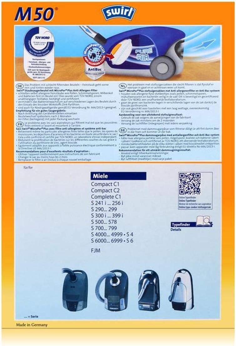 12 Staubsaugerbeutel Swirl M 50 M50 geeignet f/ür Miele Meteor G