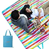 #WEJOY Soft Large Beach Blanket Oversize Picnic Mat for Family Outdoor Camping, 78.7x59, Easy to Foldable and Carry, Rainbow