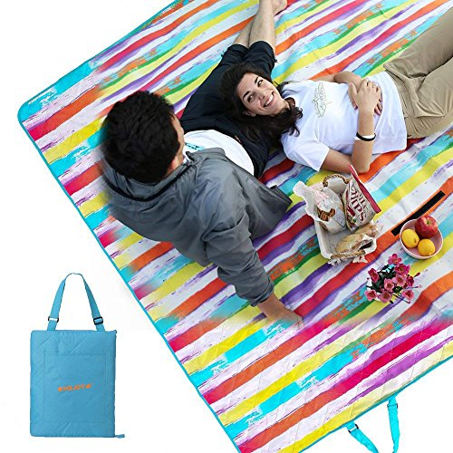 Cheap #WEJOY Soft Large Beach Blanket Oversize Picnic Mat for Family Outdoor Camping, 78.7×59, Foldable and Easy to Carry, Rainbow
