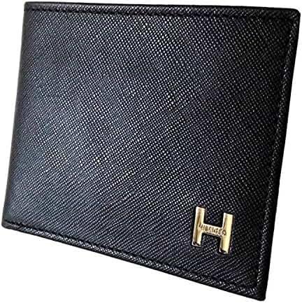 New Tommy Hilfiger Men's Pebble Leather Billfold Passcase & Valet Wallet (Black)